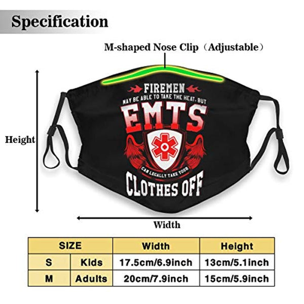 Emt Ems Paramedic Personalized Mouth Sleeve Guard With Filter Unisex Anti-Dust Washable Reusable Mouth Guard