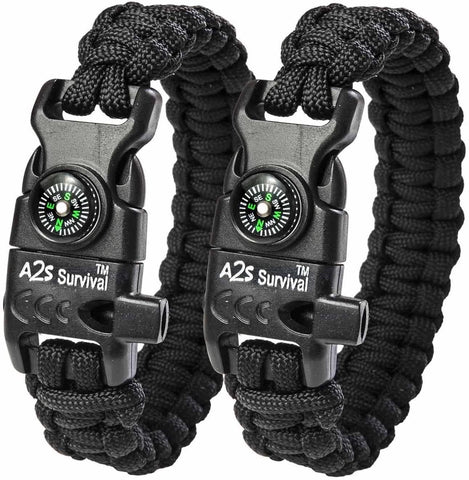2 Paracord Survival Bracelets with Compass, Fire Starter, Emergency Knife and Whistle - Prevent4life
