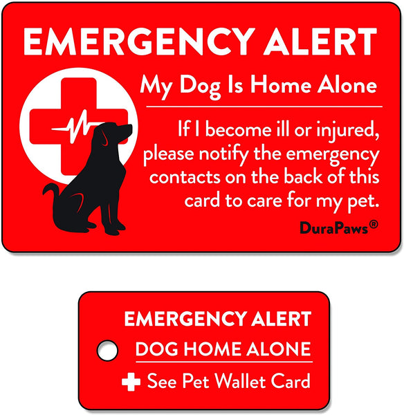 Dogs & Cats are Home Alone Emergency Alert Plastic Contact Wallet Card & Key Tag