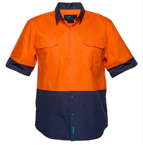 Portwest- MS902 - Hi-Vis Two Tone Short Sleeve Shirt - Yellow/Navy - Orange/Navy