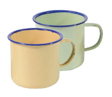 Enamel Coloured Mugs - 8cm - Cream / Green