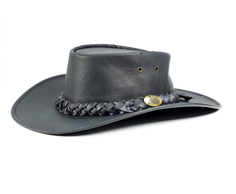 Jacaru - 1001 Kangaroo Leather Hat - Black / Brown