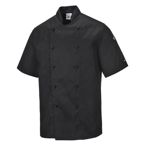 Portwest - C734 Kent Short Sleeve Chef Jacket - White - Black