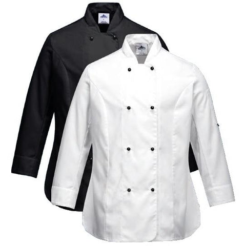 Portwest - C834 Somerset Long Sleeve Chef Jacket - White - Black - Surplus City