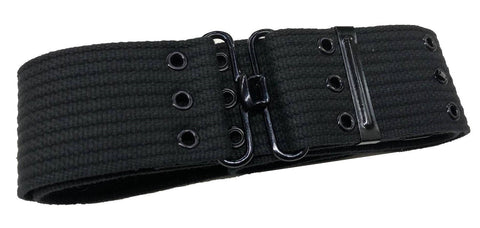 Triple Eyelet Webbing Belt - Black / Khaki