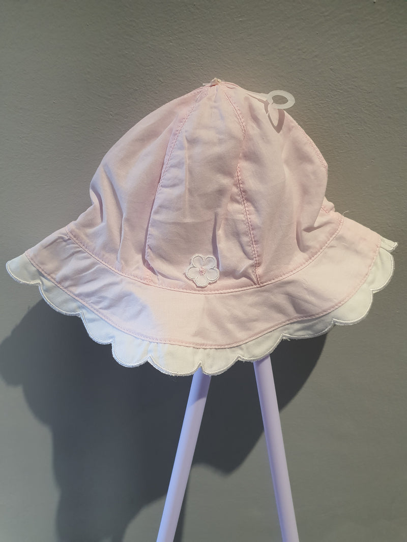 Emile et Rose Sun Hat Pink with White Frill Monica