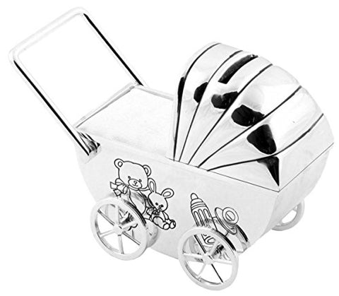 BAMBINO SILVER PLATED PRAM MONEY BOX