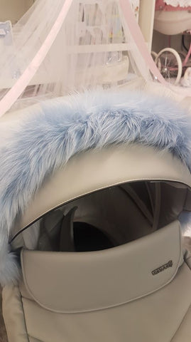 Fur hood trims Blue