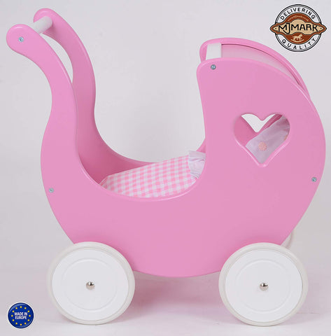 MJ Mark Wooden Doll Pram Pink Heart-Young Trend Boutique