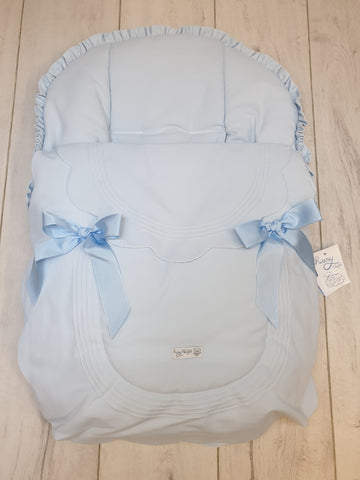 Rosy Fuentes Blue Scallop Car Seat Cover Blue Bows 7601-Young Trend Boutique