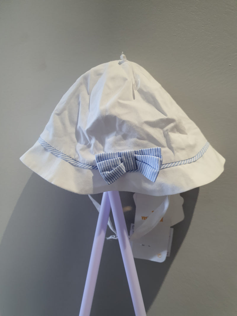 Mayoral White Sun Hat with blue stripes 9793
