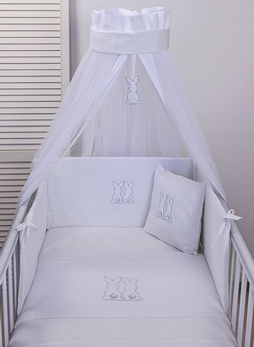 Baby Oliver Bunnies Design Cot Bed Bedding - White