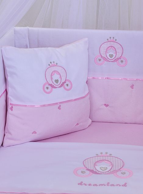 Baby Oliver Carriage Cot Bed Bedding - Pink