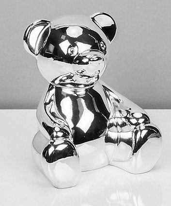 Bambino Silver Plated Teddy Bear Money Box