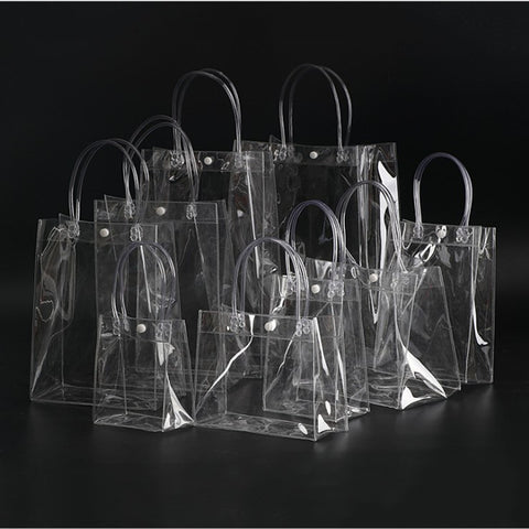 20pcs/lot Transparent soft PVC gift tote packaging bags with hand loop, clear Plastic handbag, cosmetic bag