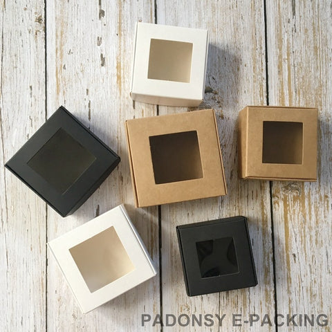 50pcs Kraft Paper Box with Clear PVC Window