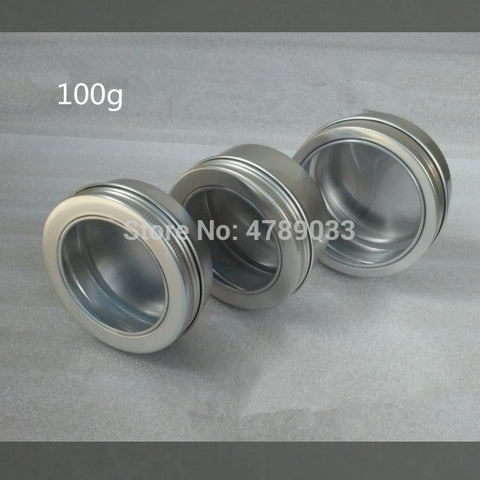 100g/100ml Empty Aluminium Cosmetic Tins Clear Top