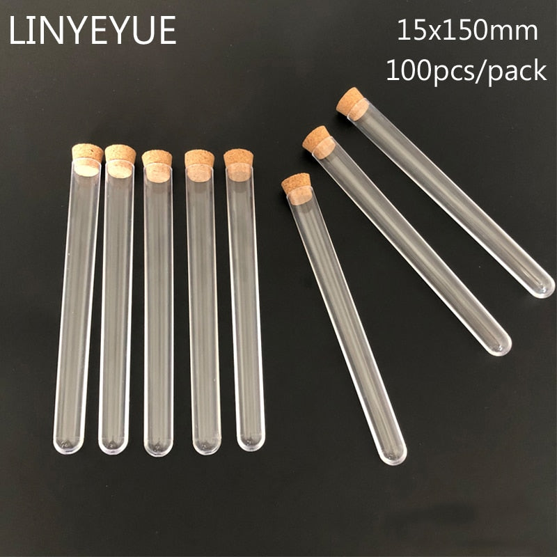 100piecesof 15*150mm Transparent Plastic test tube with Cork Stopper