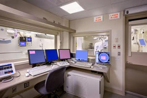 x-ray control room with lead glass windows