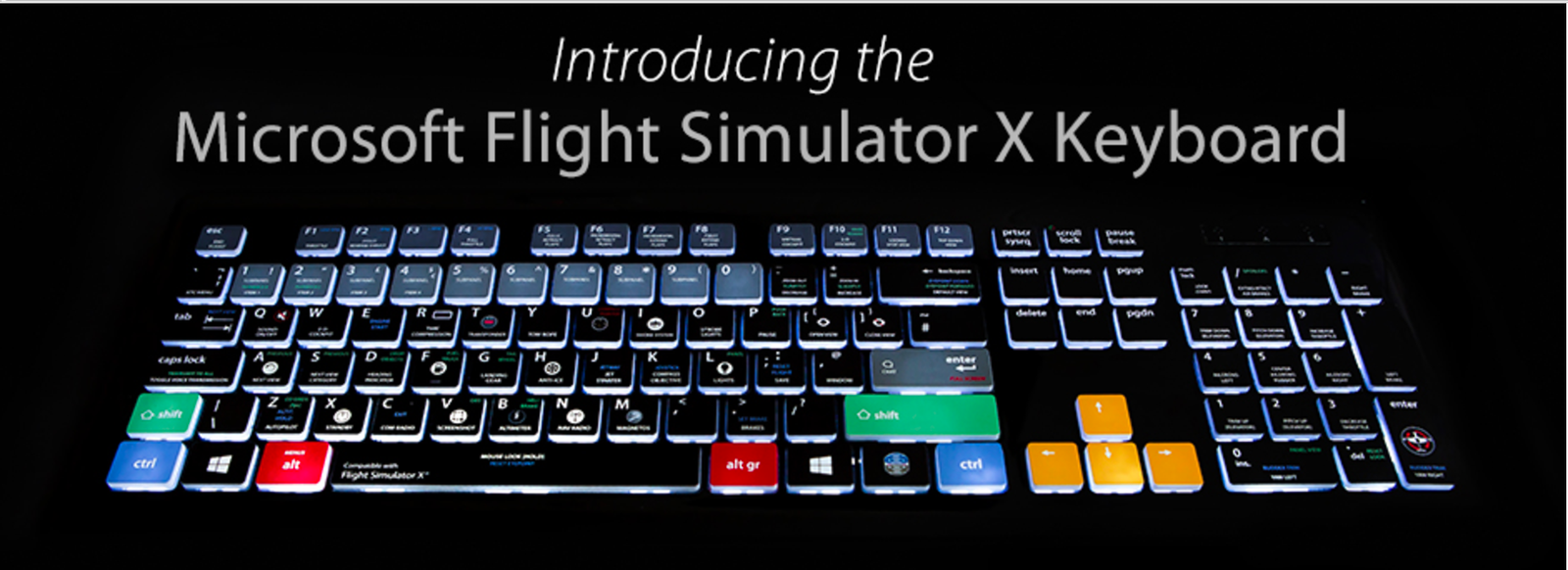 The dedicated backlit keyboard for Microsoft Flight Simulator X