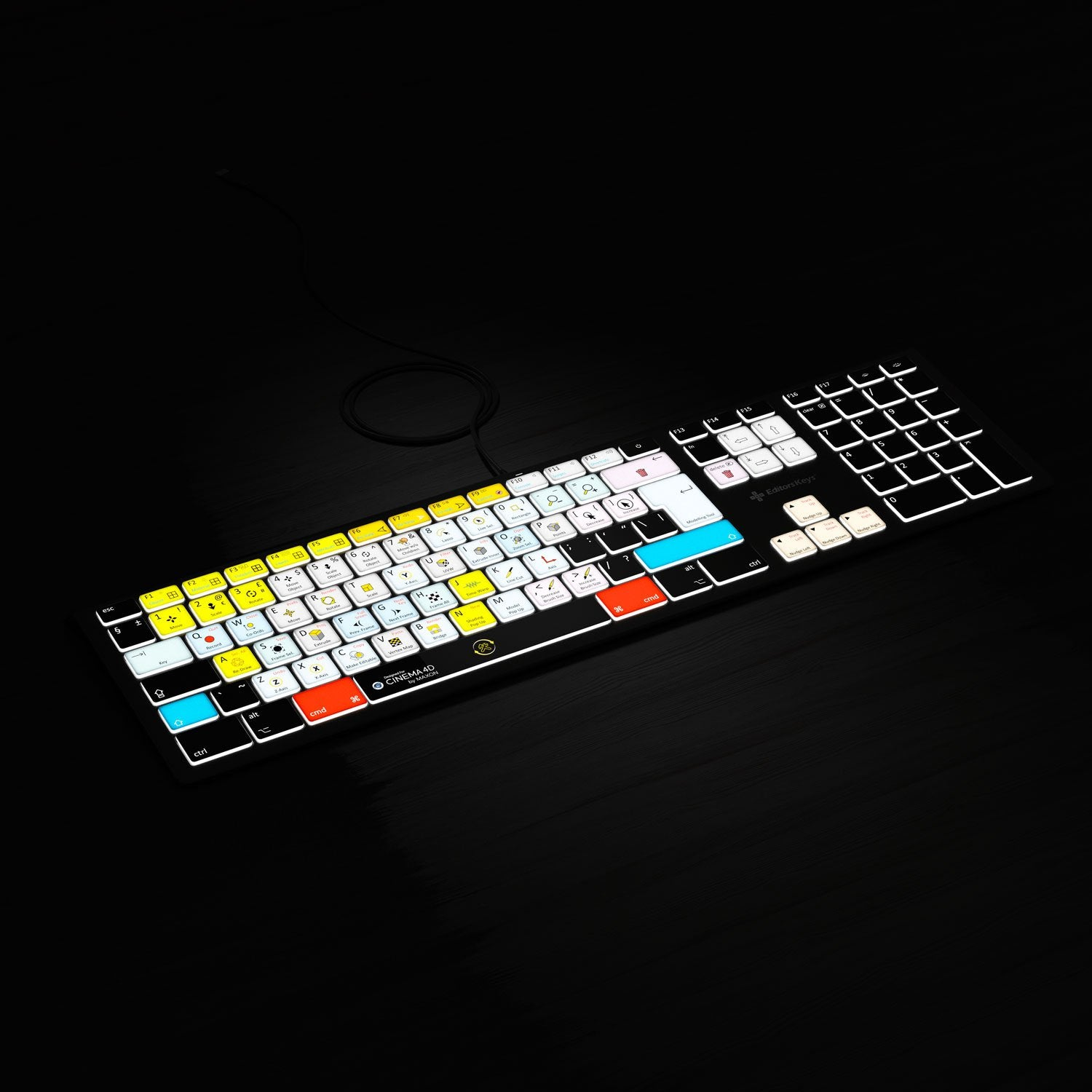 Full shot of Cinema 4d Backlit Keyboard
