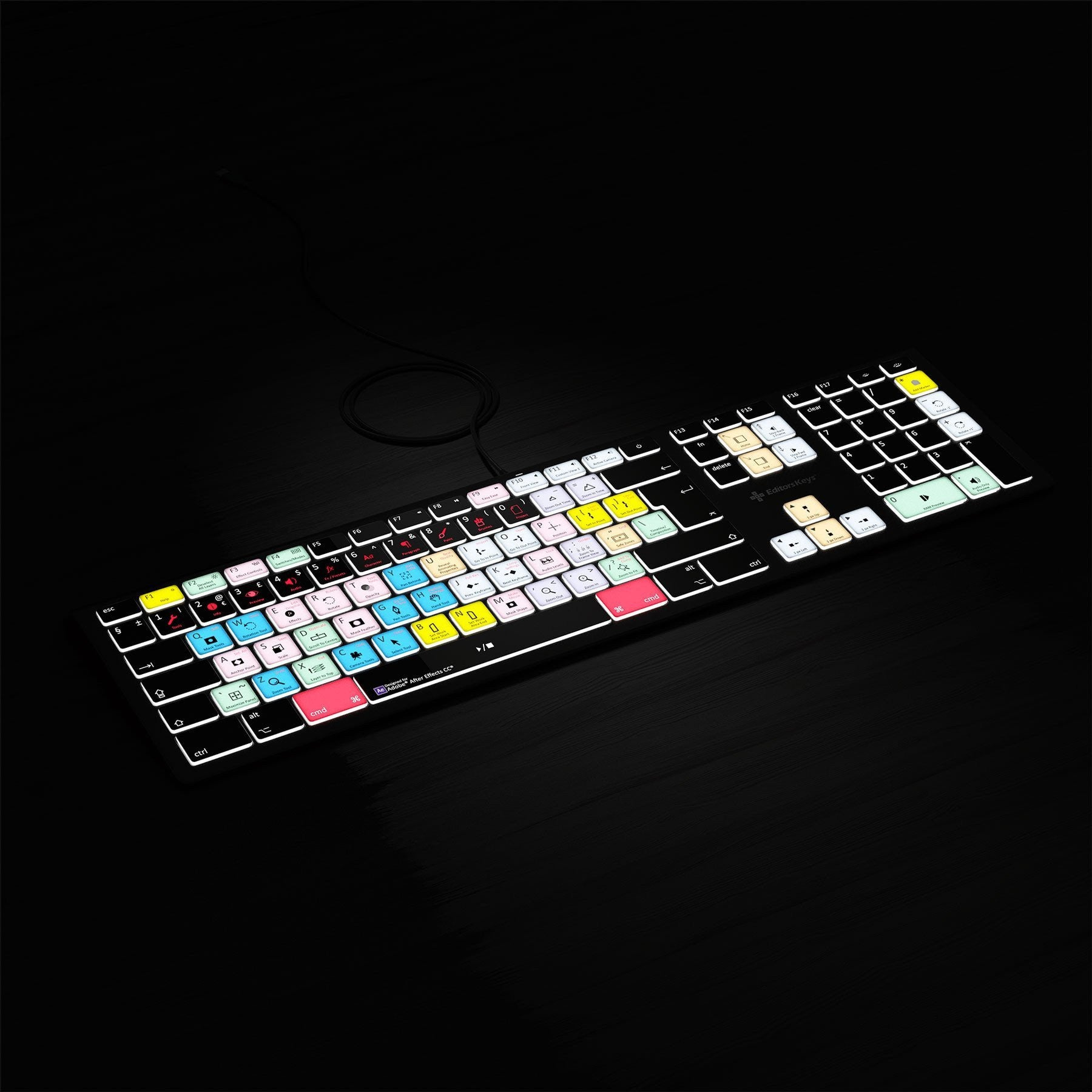 Adobe After Effects Keyboard - Backlit - For Mac or PC