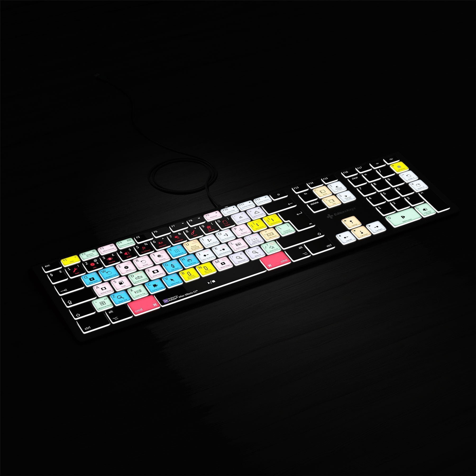 REFRUB Adobe After Effects Keyboard - Backlit - For Mac or PC