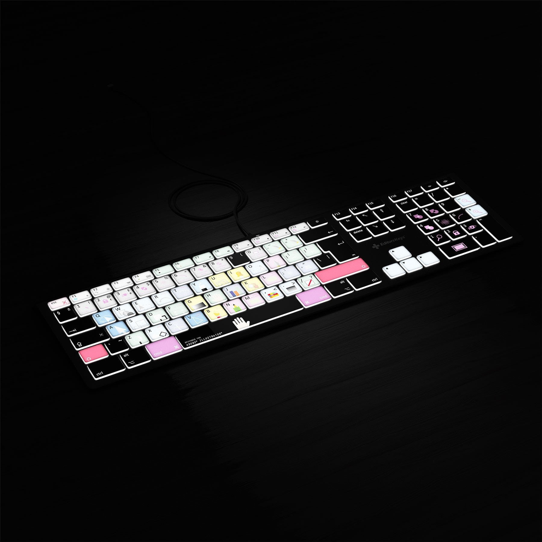 Adobe Illustrator Keyboard - Backlit Mac or PC