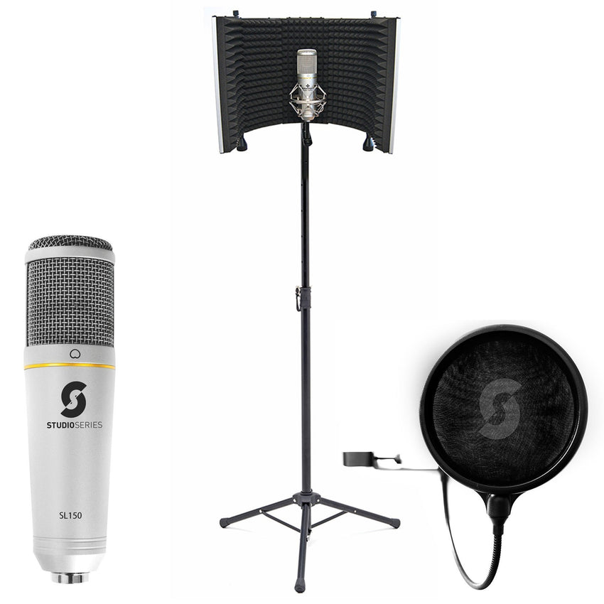 Vocal Booth Pro, USB Microphone & Pop Filter Bundle