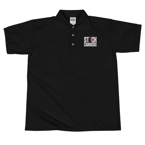 Stick Carriers Logo | Embroidered Polo Shirt, Black