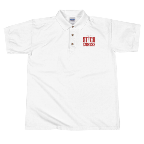 Stick Carriers Logo | Embroidered Polo Shirt, White