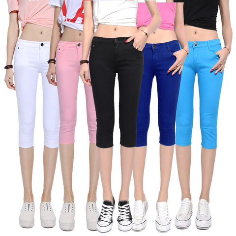 Calf-length  Mid Waist Casual Capri