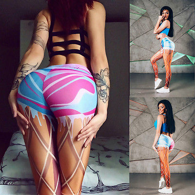 Compression bandage fish net pattern printed  leggings