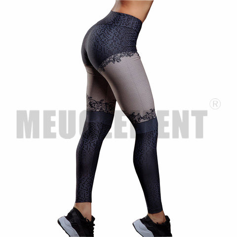 3D Flower Mesh printed pattern leggings