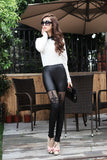 Women's Hot Sexy PU Leather Stitching Embroidery Hollow Lace Leggings