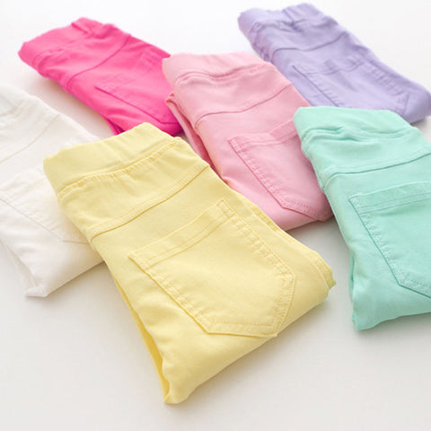 Girls Elastic Waist Candy Color Casual Long leggings