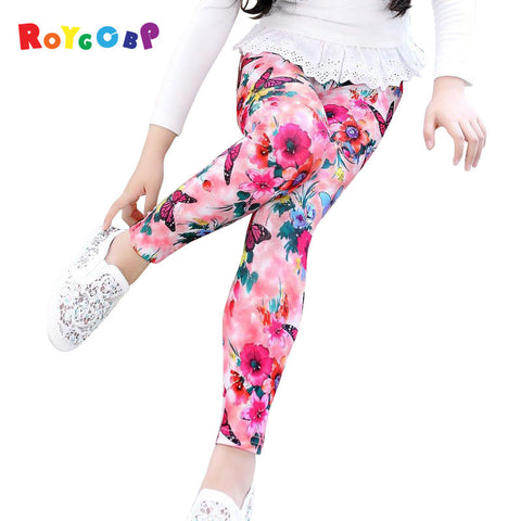 Girls Flower Print Leggings  1