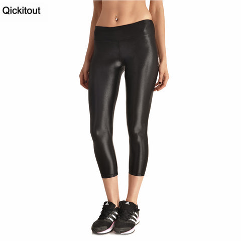 Shiny Black High Waist Capri