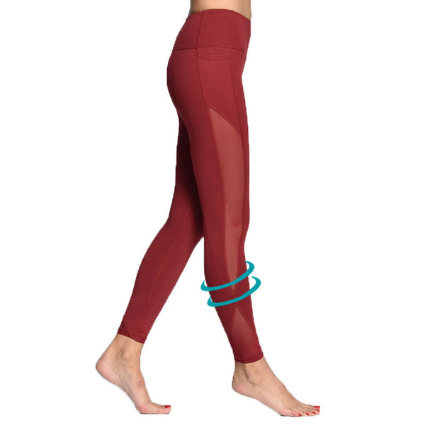 Yoga Compression Mesh Leggings with Pocket