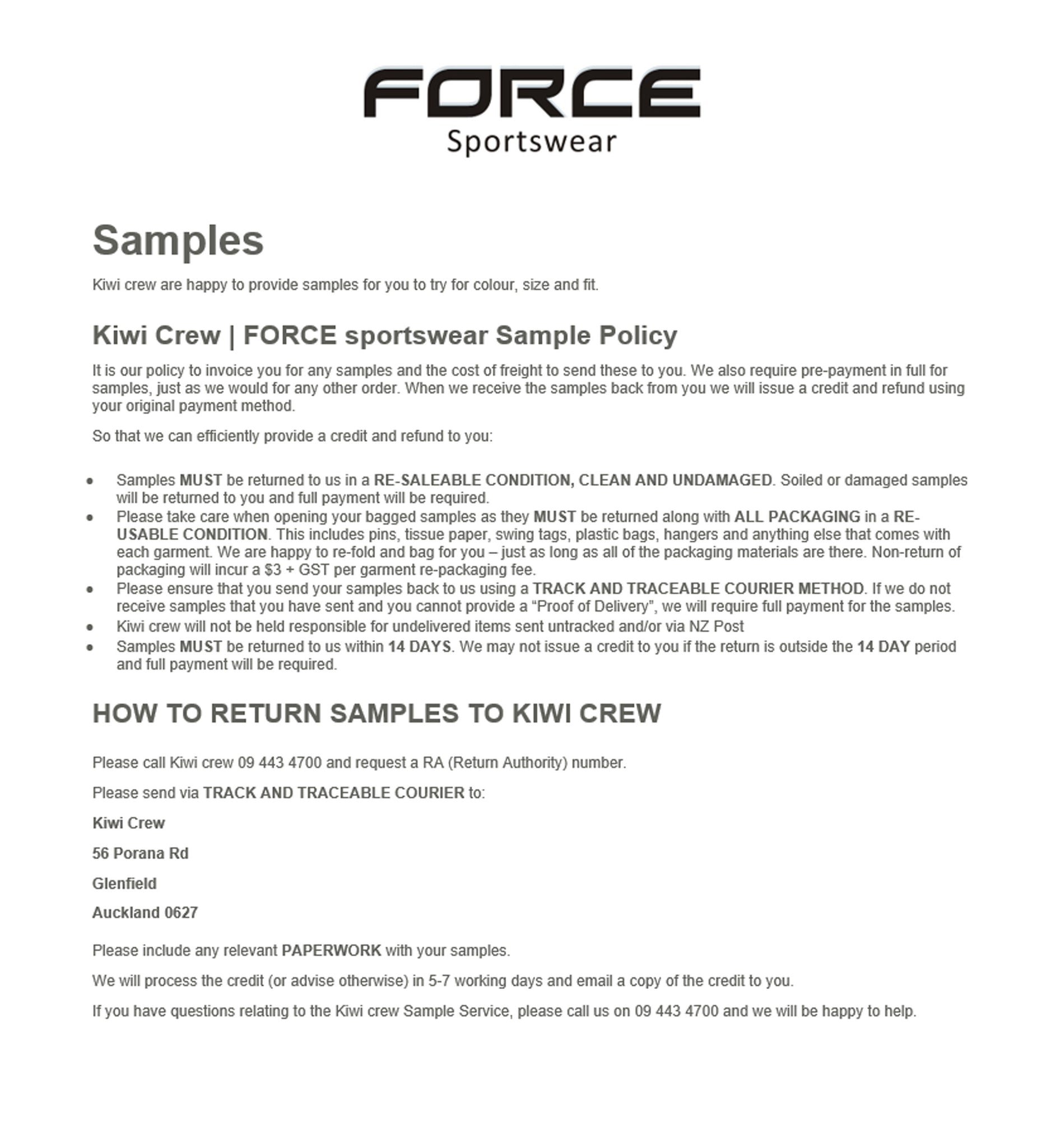 Sample Policy   Forcesportsnz