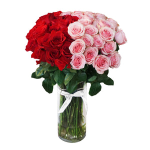 Red & Pink Rose Bouquet in Vase
