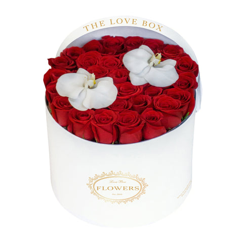 Red Roses with Orchid Flowers in Large Black Box