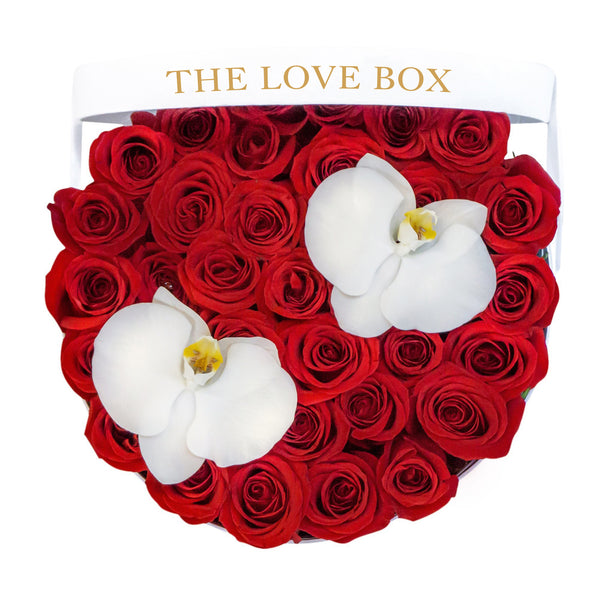 Red Roses with Orchid Flowers in Large Box