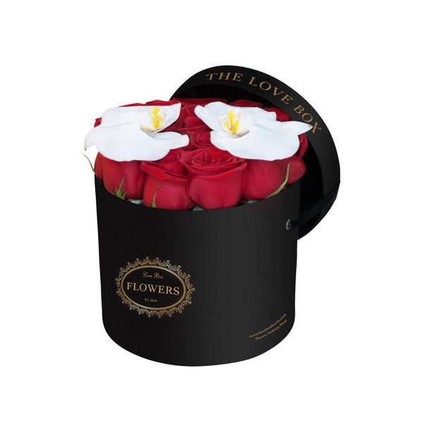 Red Roses with Orchid Flowers in Medium Black Box