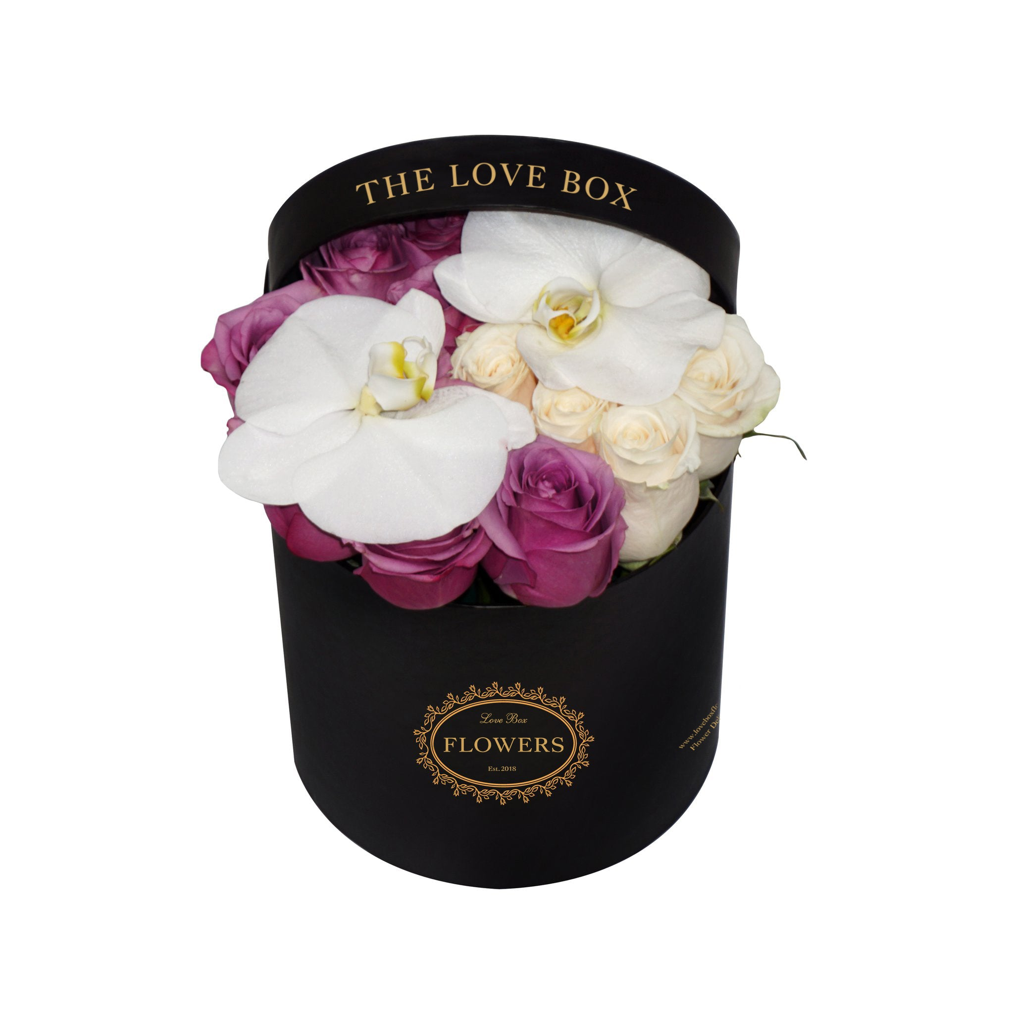 White and Purple Roses With Orchid Flowers in Medium Box