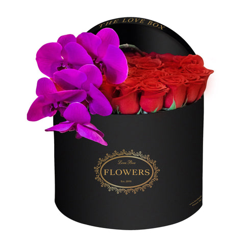 Classic Red Roses with Orchid in Large Black Box