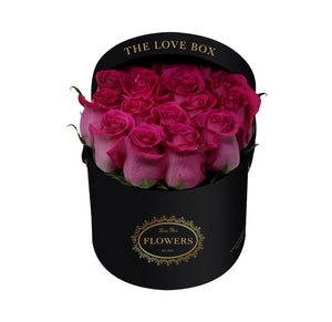 Hot Pink Roses in Medium Black Box