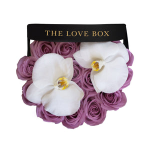 Purple Roses with Orchid Flowers in Medium Black Box