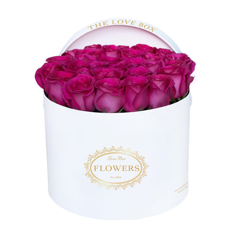 Hot Pink Roses in Large White Box