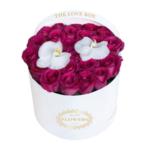 Hot Pink Roses with Orchid Flowers in Large White Box